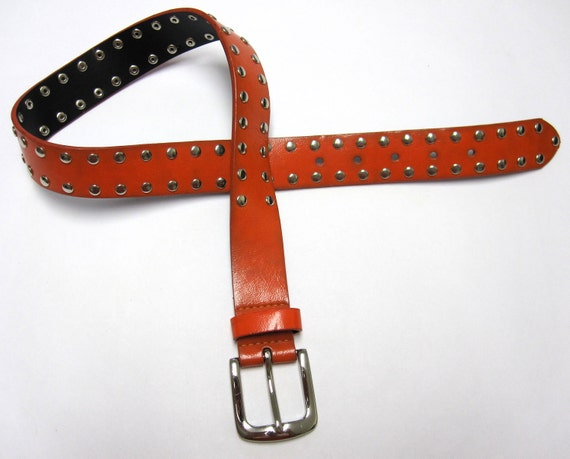 orange belt with silver rivets wide tangerine by