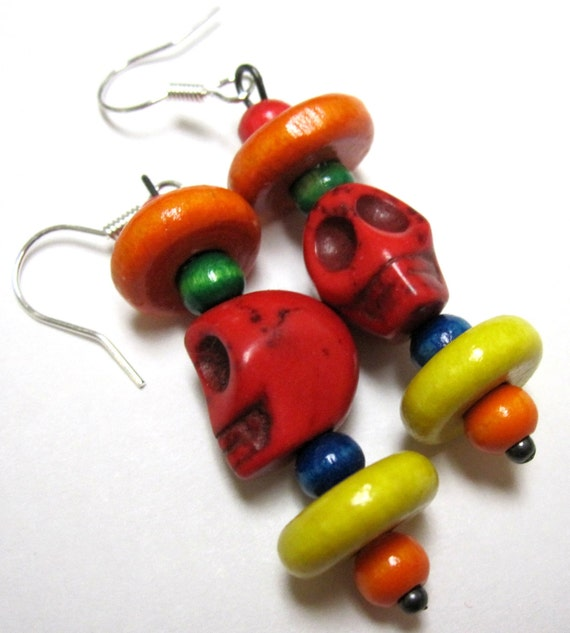 Sugar Skull Earrings Red