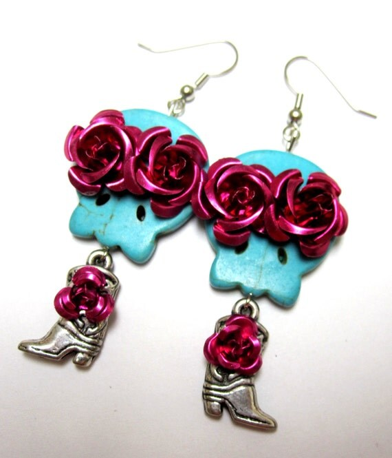 Sugar Skull Earrings Day of the Dead Roses on Cowboy Boots Blue Pink
