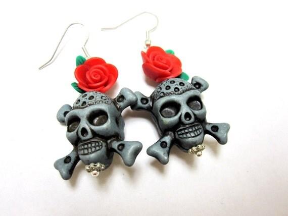 Day of the Dead Jolly Roger Skulls & Red Rose Dangle Earrings
