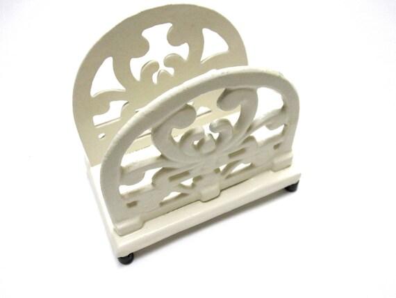 White Cast Iron Letter or Napkin Holder Urban Farmhouse