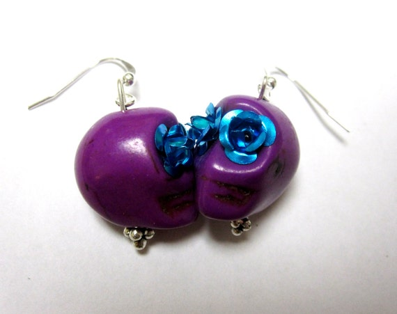 Custom Reserved Day of the Dead Earrings Sugar Skull Fuschia Purple Turquoise Blue Rose Eyes