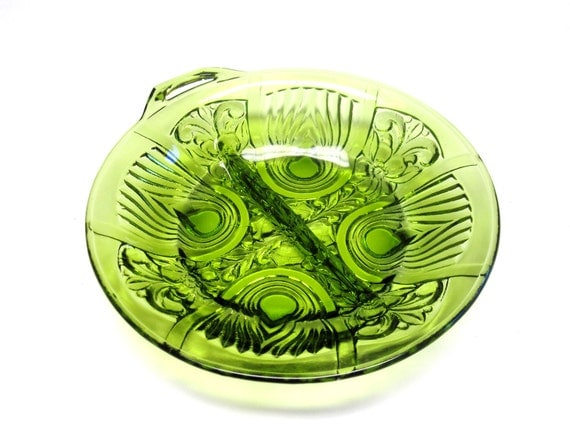 Avocado Green Glass Divided Relish Dish Candy Nut Bowl