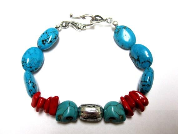 Day Of The Dead Bracelet Sugar Skull Strand Unisex Turquoise Blue Red Jasper