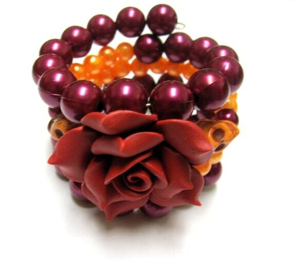 Day of the Dead Bracelet Flor de Muertos Jewelry Cuff Amazing in Mustard & Burgundy