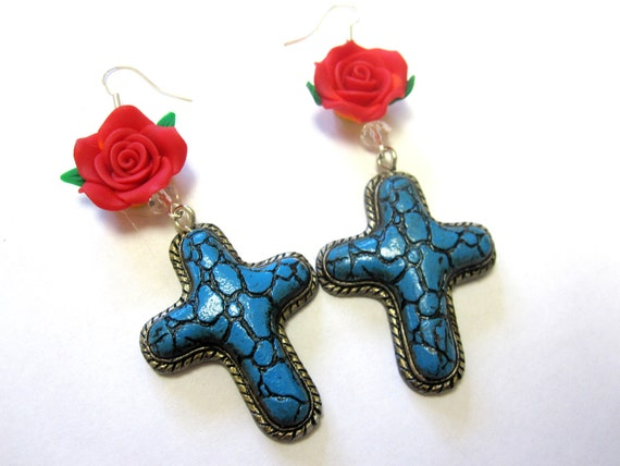 Cross Earrings Turquoise Blue Crackle Red Rose Jewelry
