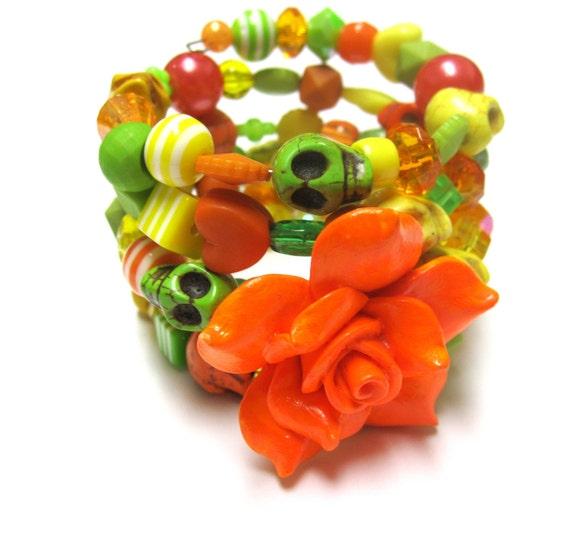 Day of the Dead Skull Bracelet Sherbert Colors - Orange Yellow Lime Green