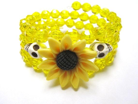 Day Of The Dead Bracelet Sugar Skull Wrap Around Cuff Yellow White Sunflower