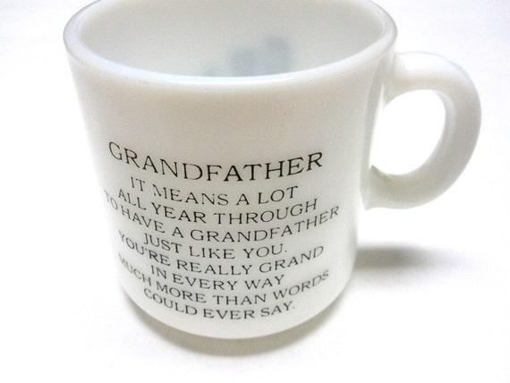 Grandfather Milkglass Poem 70's Retro Coffee Cup Tea Mug