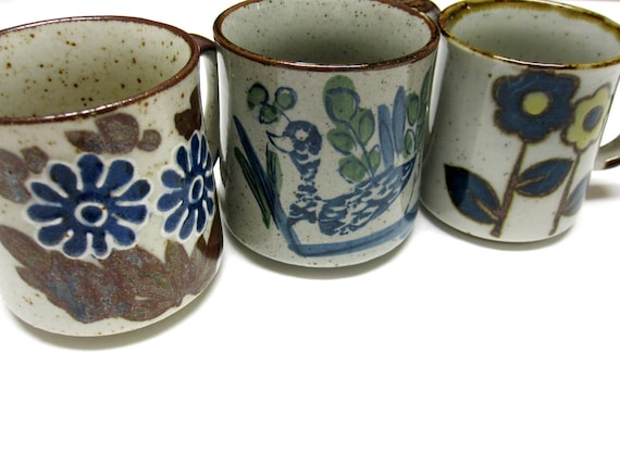 Vintage Coffee Mugs Eclectic Stoneware Speckled Brown Trio