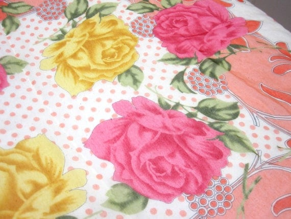 Roses And Polka Dots Large Peach Tangerine Orange Yellow Green Floral Scarf Signed