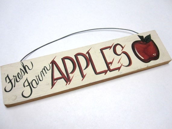 Wooden Sign Fresh Farm Apples By Sweetie2sweetie On Etsy