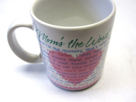 "Vintage Hallmark Coffee Cup Funny Mug ""Moms the word"""