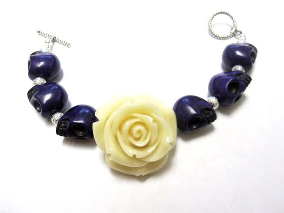 Day of The Dead Sugar Skull Bracelet Deep Purple Ivory Rose