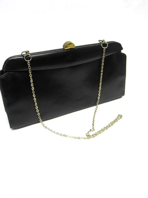 Reserved Black Purse Handbag Leather Firmsided Mam'selle Hardside