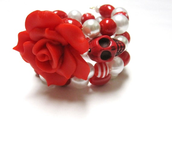 Sugar Skull Bracelet Day of the Dead Rose Cuff White Red