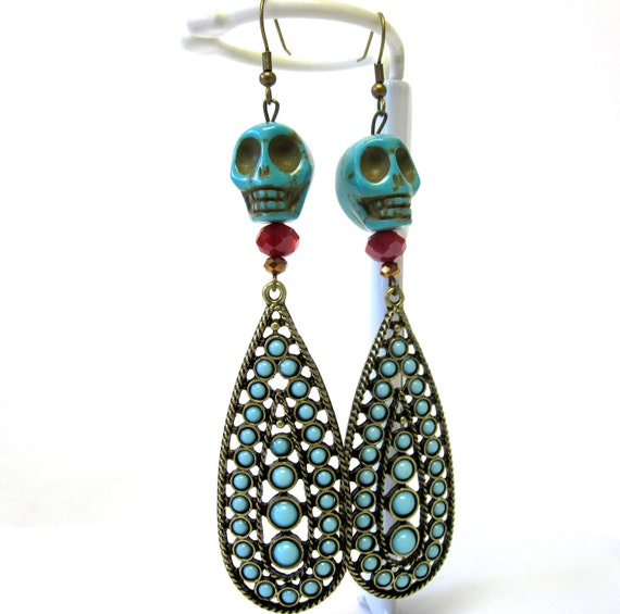 Southwest Beauty Sugar Skull Earrings Turquoise Blue & Red Day of The Dead Earrings