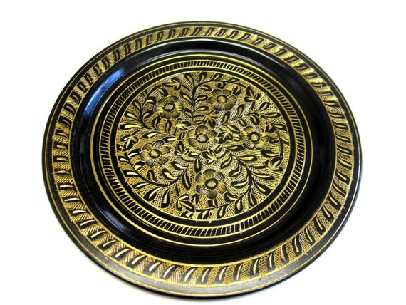 Black Gold Plate Toledo Damascene Wall Hanging Art Collectible