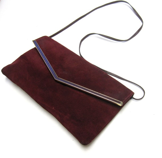 Deep Red Cranberry 80's Suede Leather Clutch Purse Handbag