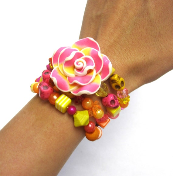 Day Of The Dead Bracelet Sugar Skull Orange Hot Pink Yellow Rose Cuff Wrap