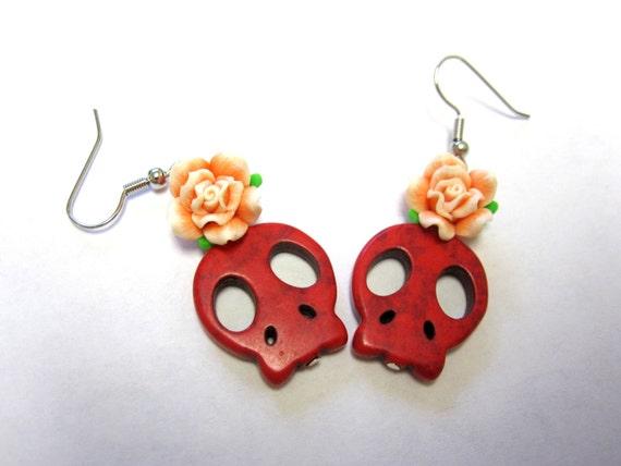 Rockabilly Sugar Skull Earrings Day Of The Dead Jewelry Red Skulls & Roses