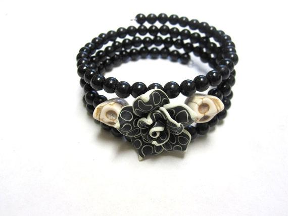 White Black Rose Day of the Dead Bracelet Sugar Skull Wrap Bracelet