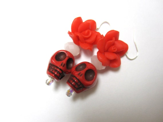 Red White Rose Day of the Dead Earrings Sugar Skull Jewelry