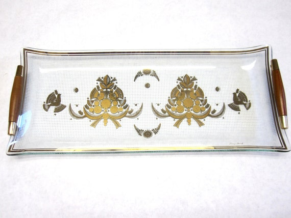 Mid Century Mod Extra Long Georges Briard Serving Dish Gold & Clear Sonata Bird Wood Handles