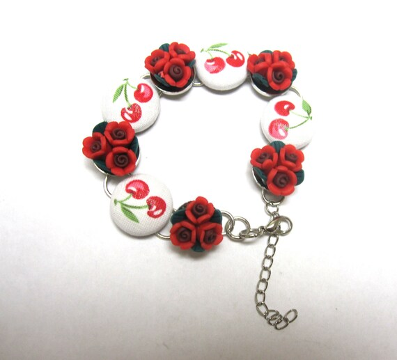 Rose and Cherry Bracelet Rockabilly Jewelry Button Cherries & Roses