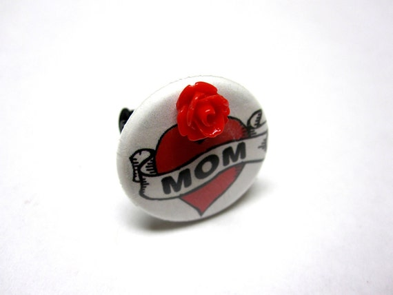 Heart Tattoo Style Mom Ring - Adjustable