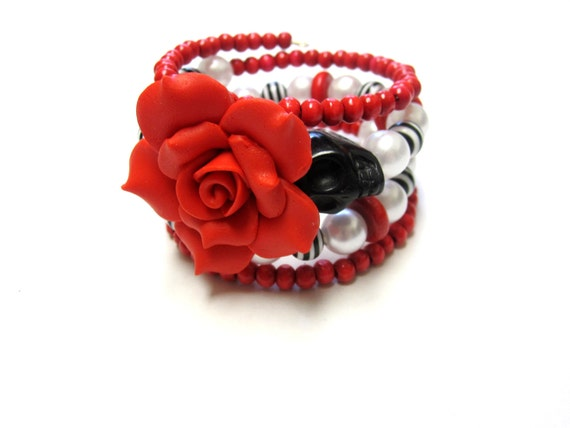 Rockabilly Baby Day of the Dead Bracelet Sugar Skull Wrap Cuff Jewelry Red Black White Rose