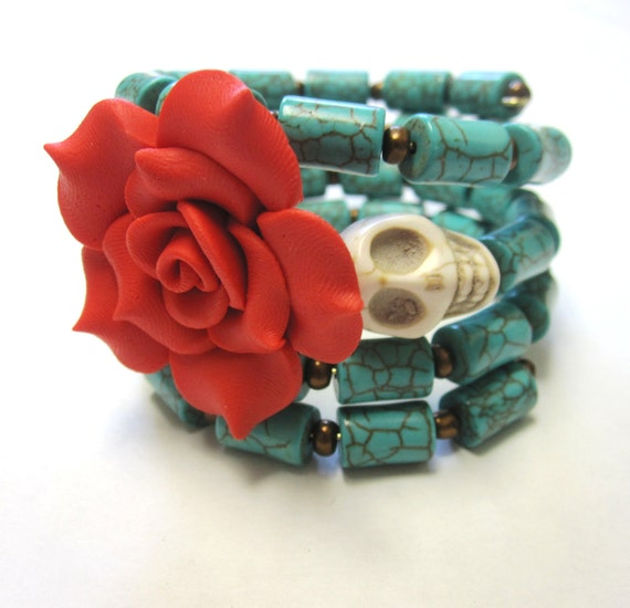 Rockabilly Classic Day of the Dead Bracelet Sugar Skull Wrap Cuff Turquoise Blue Red Rose White