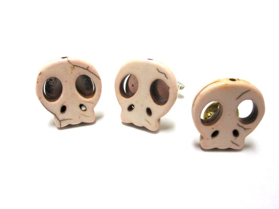 Day Of The Dead Sugar Skull Cufflinks Tietac Wedding Accessory Mens Natural White Jewelry
