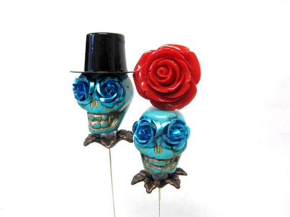 Blue Day of the Dead Cake Topper Giant Sugar Skull Gothic Wedding Bride & Groom