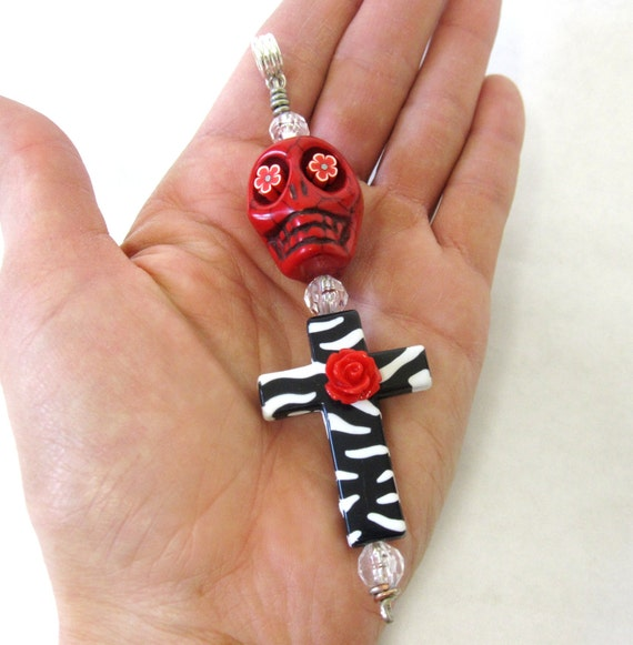 XL Day Of The Dead Key Chain Ring Necklace Pendant Sugar Skull Cross Red Black White