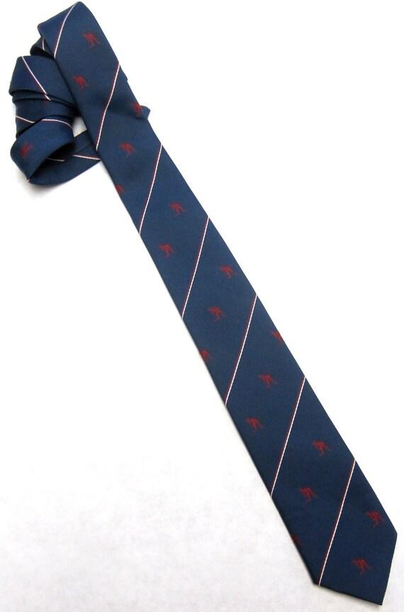 """Vintage 60s  Lido Kangaroo Tie Skinny 2.5"""" Wide Red Blue Australia"""