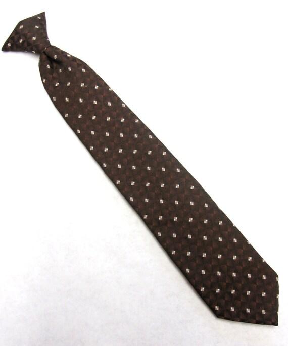 wembley neck tie brown white clipon necktie