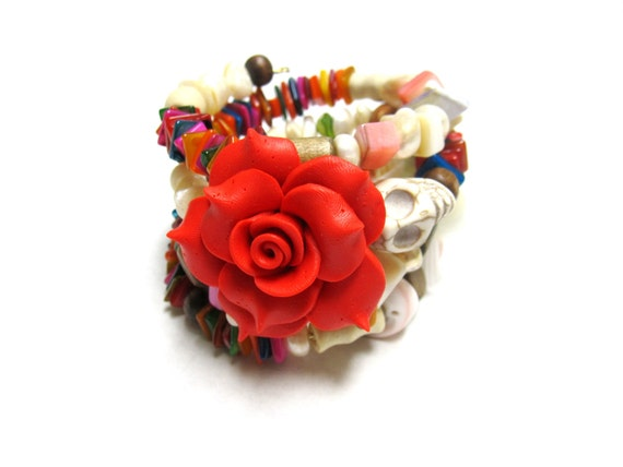 Rockabilly Rose Sugar Skull Jewelry Day of the Dead Red Shell Shocked
