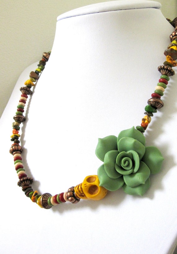 green sugar skull necklace day of the dead by sweetie2sweetie