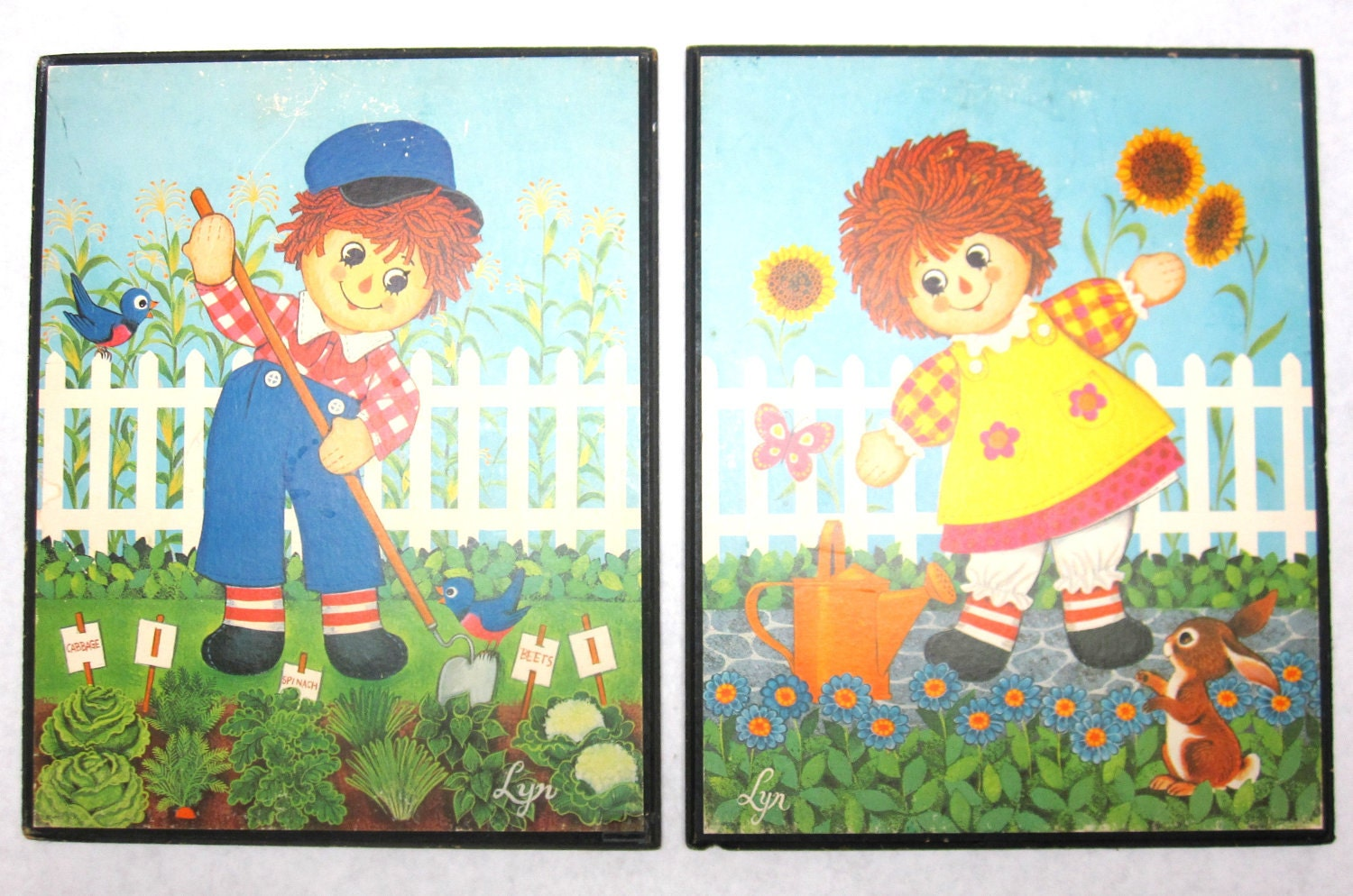raggedy ann andy wall hanging plaques picture childrens art