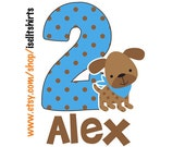 Personalized Custom PUPPY DOG BOYS T shirt for Birthday theme blue and brown polka 1st 2nd 3rd
