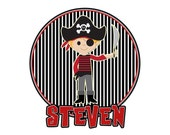 Personalized PIRATE Boys T shirt name Crossbones  black red stripes Birthday Party Tee