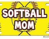 PERSONALIZED LICENSE Plate Softball Mom Yellow CUSTOM Car Tag Name Any Color Monogram