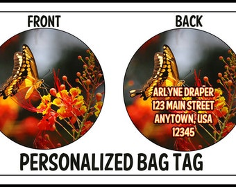 Personalized Camera Bag Tote or Luggage Tag Butterfly Photograph ID CUSTOM