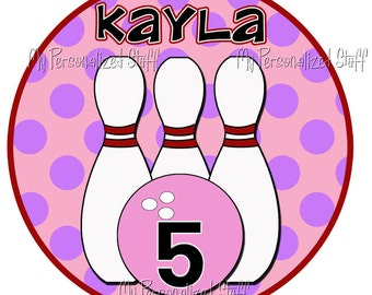 Personalized Custom BOWLING Birthday Party Name Age Girls T shirt Tee Pink Polka