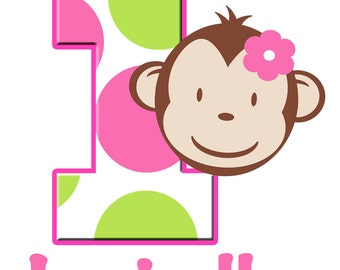 Personalized Custom MOD MONKEY Number Age Birthday Party Girl T shirt Pink and Green Polka