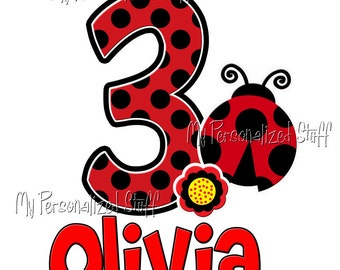 Personalized Custom LADYBUG Number Age Birthday Party Girl T shirt red black Polka