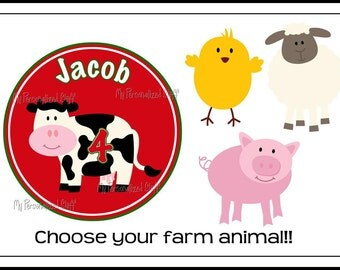 Personalized Farm animal cow pig sheep Boys or Girls t shirt Birthday Name and Age Tee