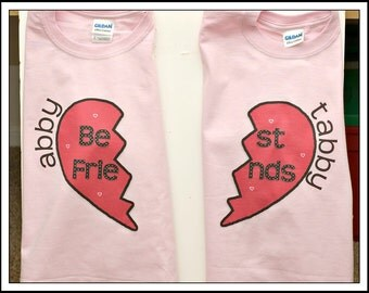 Set of Personalized Custom BEST FRIENDS BFF Two Shirt set girls t shirt girlfriends tee red heart split design