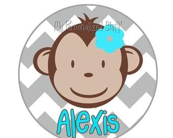 Personalized gray CHEVRON mod Monkey Girls T shirt Birthday Big Sister You pick